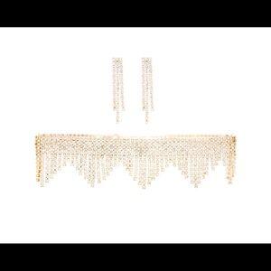 Traci Lynn Rose Gold Diamond Choker Set